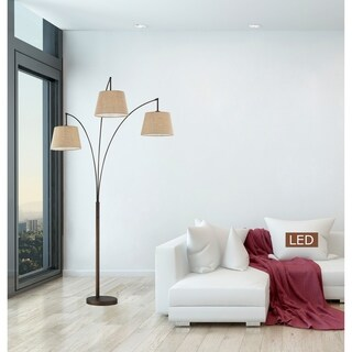 """Artiva Luce 84"""" 3-Arched Antique Bronze LED Floor lamp with Dimmer"""