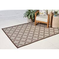 Natural Brown Geometric Durable Indoor/Outdoor Area Rug - 9'6 x 13'