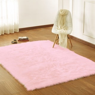 Home Decor Indoor Faux Shaggy Area Rug in Pink