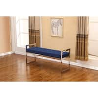 Best Quality Furniture Navy Tufted Accent Bench