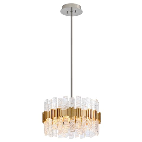 Corbett Lighting Ciro 20-inches Silver Leaf Pendant with Polished Stainless Accents - Silver Leaf