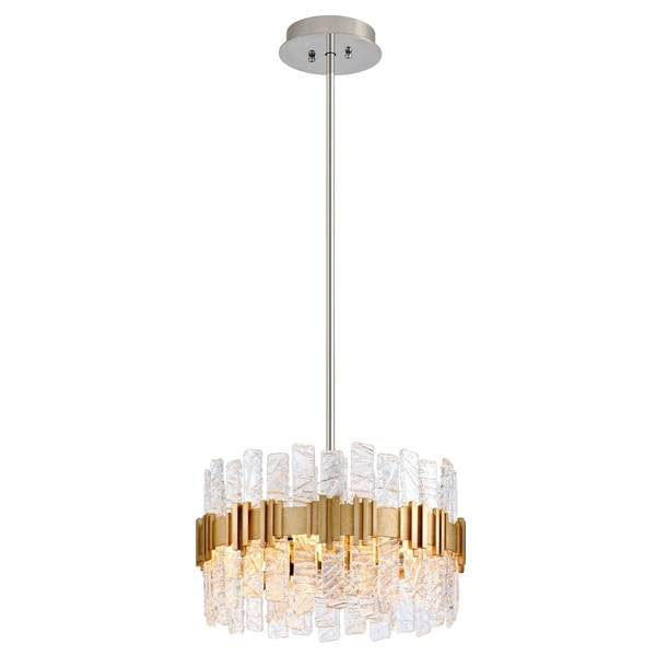 Corbett Lighting Ciro 20-inches Silver Leaf Pendant with Polished Stainless Accents