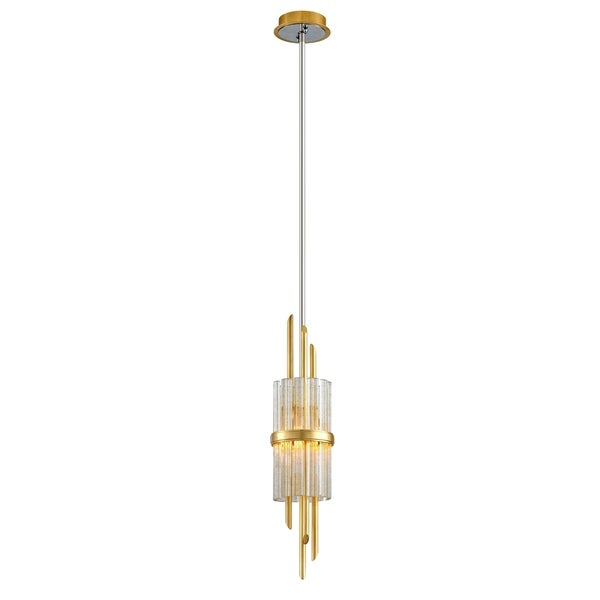 Corbett Lighting Symphony 1-light Gold Leaf Pendant with Polished Stainless Accents