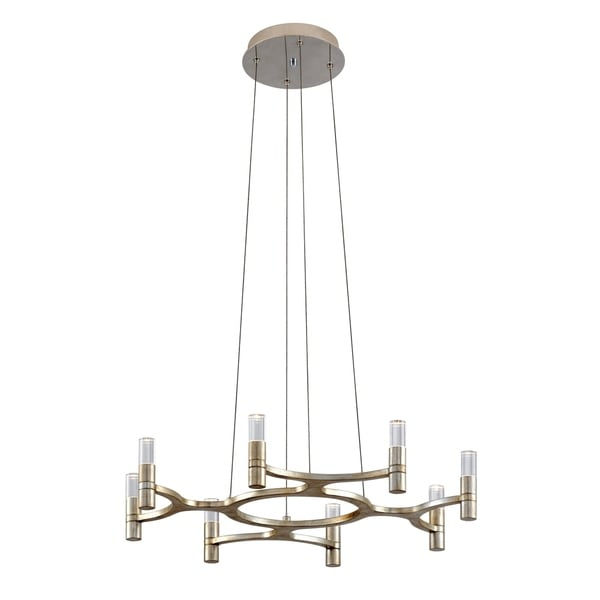 Corbett Lighting Nexus 8-light LED Silver Leaf Chandelier with Polished Stainless Accents