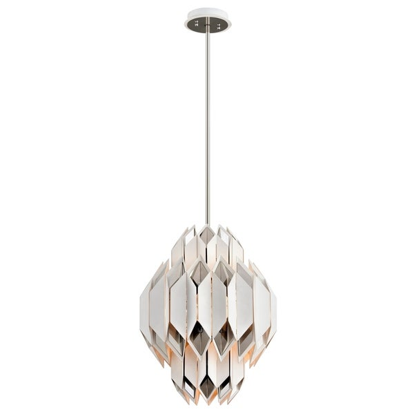 Corbett Lighting Haiku 6-light White Pendant with Polished Stainless Accents