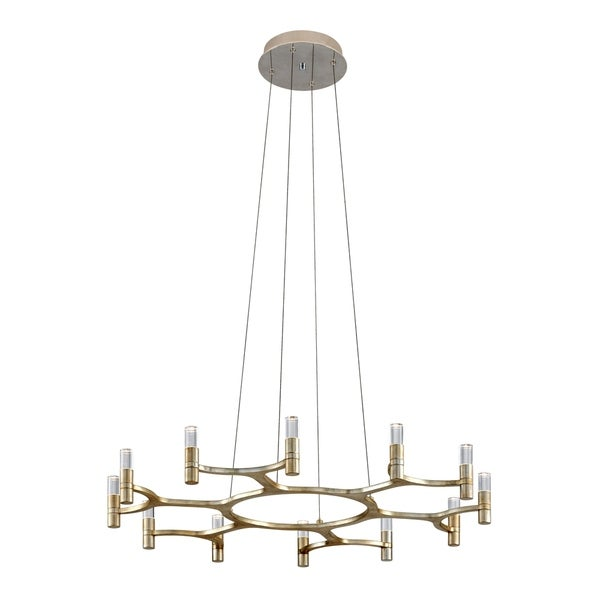 Corbett Lighting Nexus 12-light LED Silver Leaf Chandelier with Polished Stainless Accents