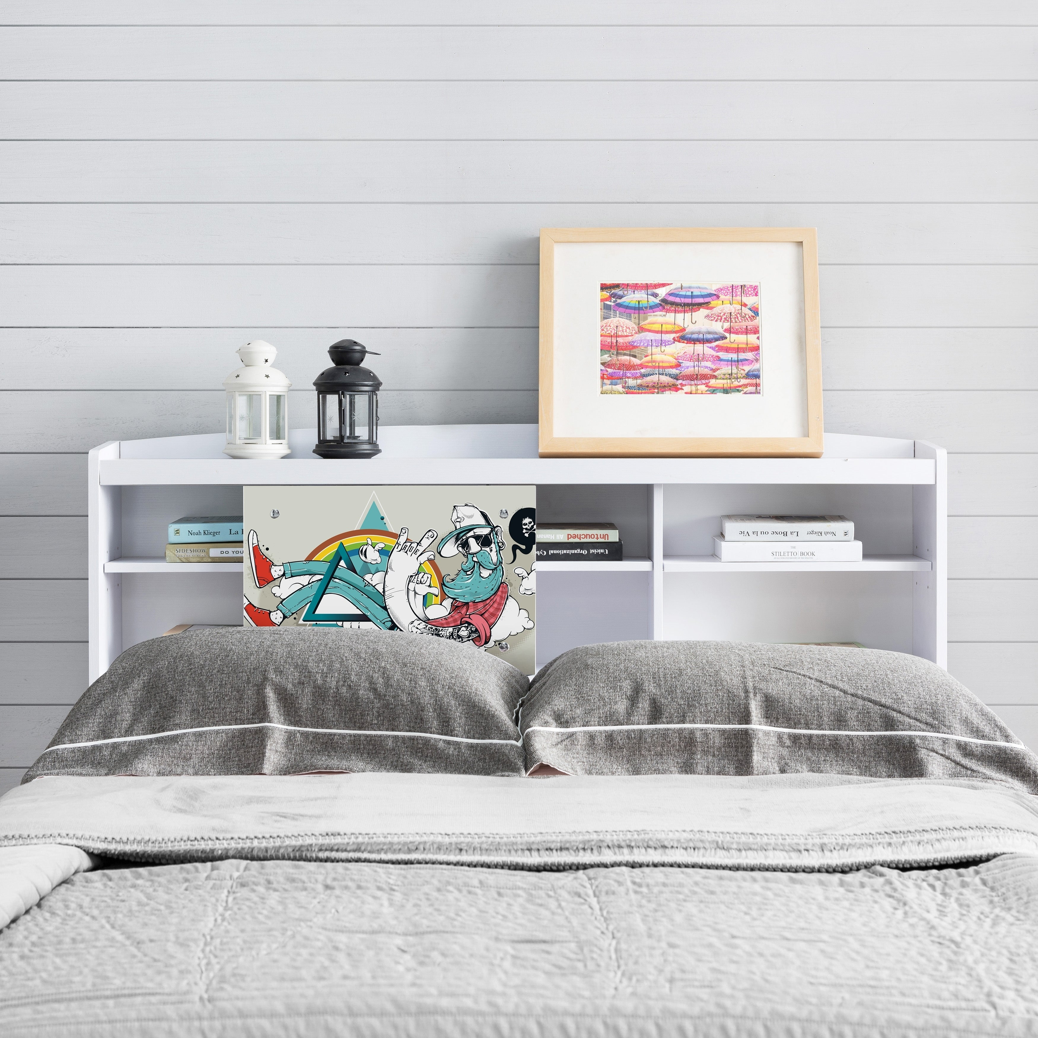 Bridgette Modern White Queen Size Bookcase Headboard