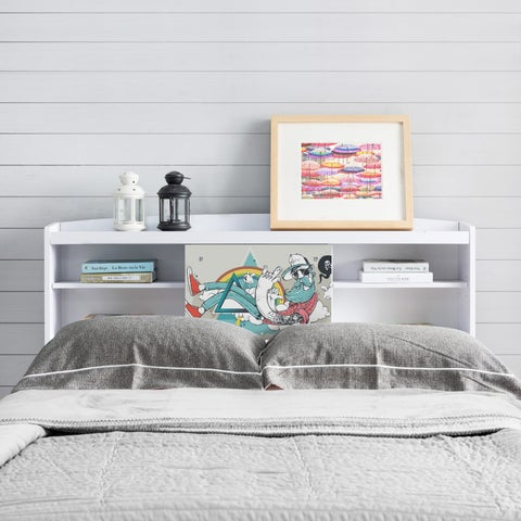 Bridgette Modern White Queen-size Bookcase Headboard