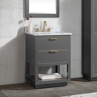 Avanity Allie 25 in. Vanity Combo in Twilight Gray with Gold Trim
