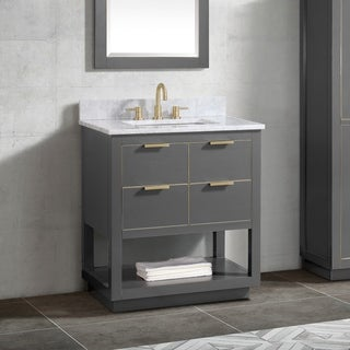 Avanity Allie 31 in. Vanity Combo in Twilight Gray with Gold Trim