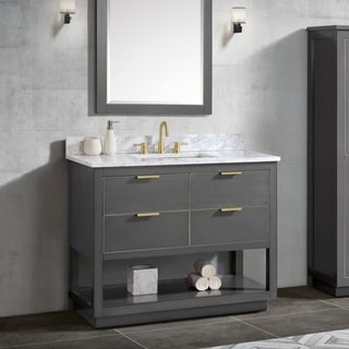 Avanity Allie 43 in. Vanity Combo in Twilight Gray with Gold Trim