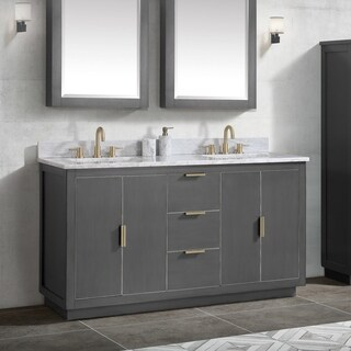 Avanity Austen 61 in. Vanity Combo in Twilight Gray w/ Gold Trim