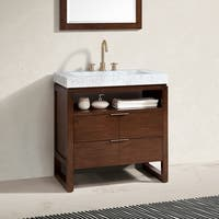 Avanity Giselle 33 in. Vanity in Natural Walnut with Integrated Carrara White Marble Top