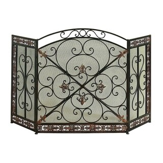 Traditional 3 Panel Metal Fire Screen With Filigree Design, Bronze