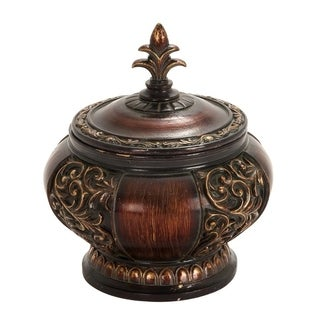 Traditional Lidded Decorative Box With Intricate Carvings, Black and Gold