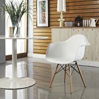 Carson Carrington Notodden Wood Pyramid Arm Chair in White