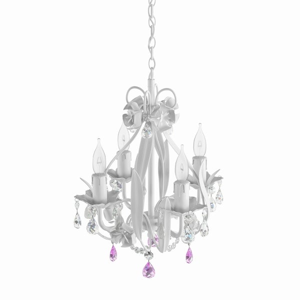Silver Orchid Held Gallery Wrought Iron and Crystal Mini 4-light Chandelier