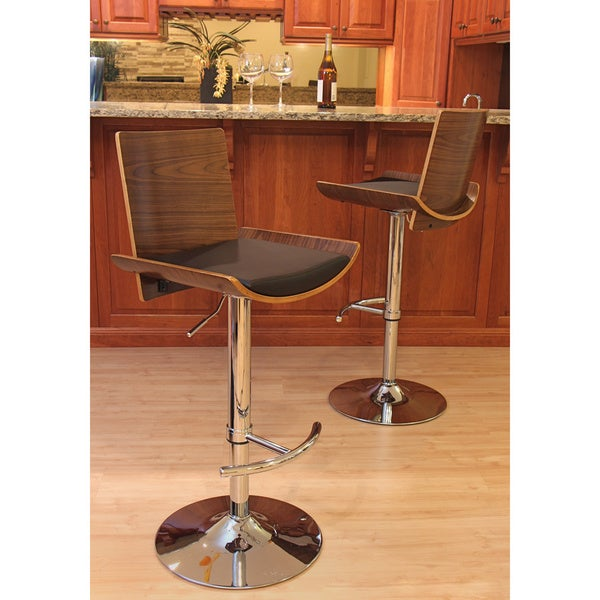 Carson Carrington Ljungby Mid-Century Modern Wood/ Faux Leather Adjustable Barstool