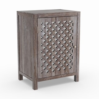 The Curated Nomad Tabitha Distressed Grey Quatrefoil End Table with Mirror Accent