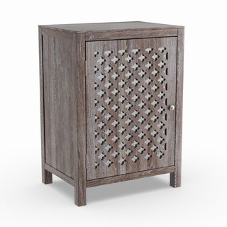 Maison Rouge Anatole Distressed Grey Quatrefoil End Table with Mirror Accent