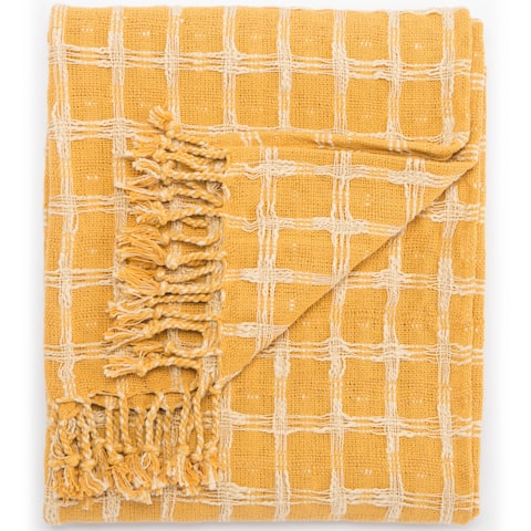 Carson Carrington Langesund Handmade Cotton Yellow Throw