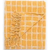 Carson Carrington Langesund Handmade Cotton Yellow Throw