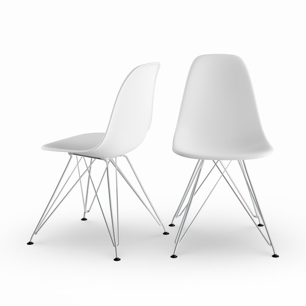 Carson Carrington Silkeborg Mid Century Modern Molded White Chair with Coloured Leg (Set of 2)
