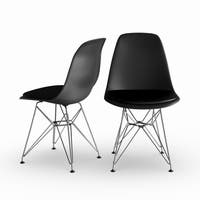 Carson Carrington Silkeborg Mid Century Modern Molded Black Chair with Upholstered Seat (Set of 2)