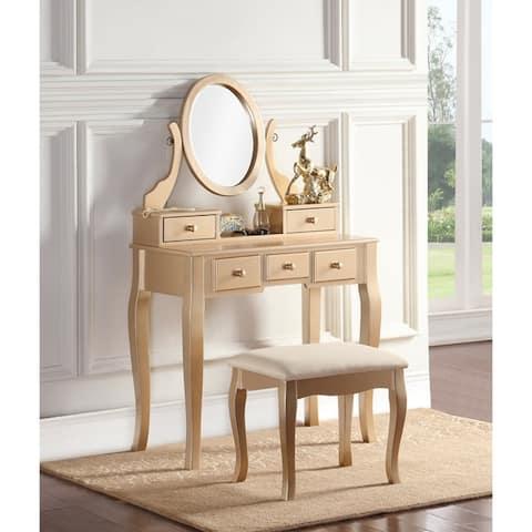 Copper Grove Watt Wood Makeup Vanity Table and Stool Set