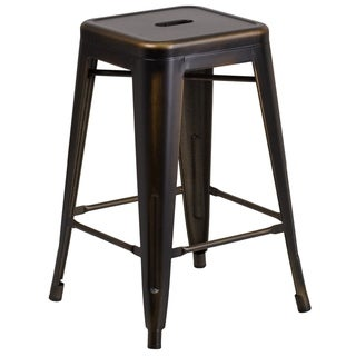 Carbon Loft Walton Distressed Metal 24-inch Backless Counter Stool