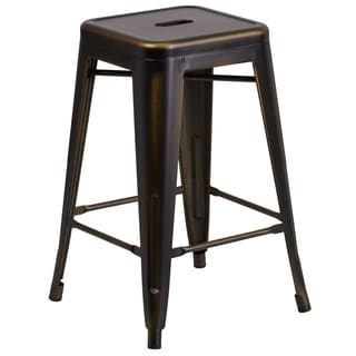 Carbon Loft Walton 24-inch High Backless Distressed Metal Indoor Counter Height Stool