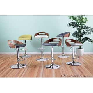 Cassis Mid-Century Modern Adjustable Bar Stool with Faux Leather and Walnut Wood