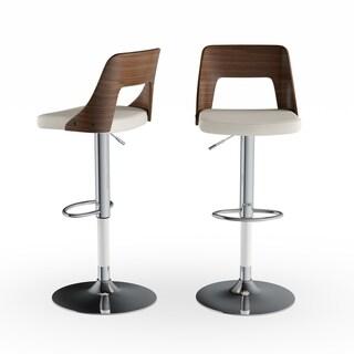 Carson Carrington Visby Mid-Century Modern Walnut Wood/ Faux Leather Adjustable Barstool