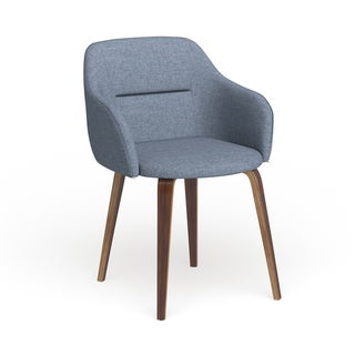 Carson Carrington Tampere Mid-Century Modern Walnut Wood Upholstered Chair (Blue)
