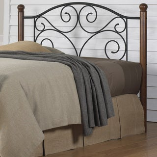 Fashion Bed Groups Doral Transitional Style Headboard with Solid Maple Wood Posts and Powdercoated Black Steel Grillwork