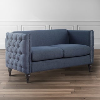 Maison Rouge Chapelain Tuxedo Linen Tufted Nailhead Loveseat (3 options available)