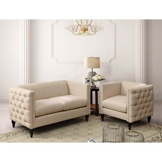 Maison Rouge Chopinel Tufted Linen Tuxedo Chair and Loveseat Set (3 options available)