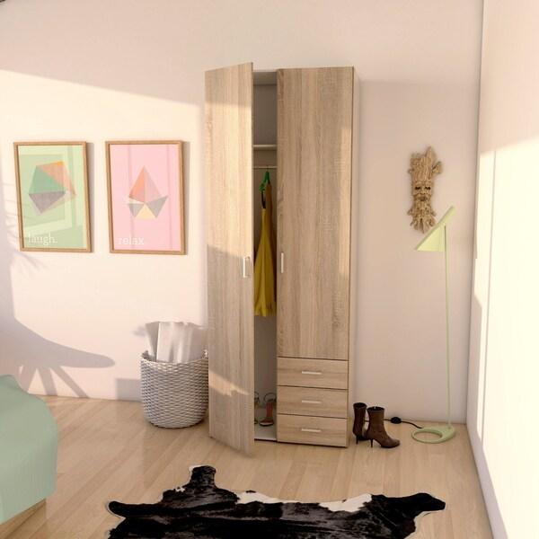 Shop Space Wood 3 Drawer 2 Door Wardrobe 30 55 W X 19 5