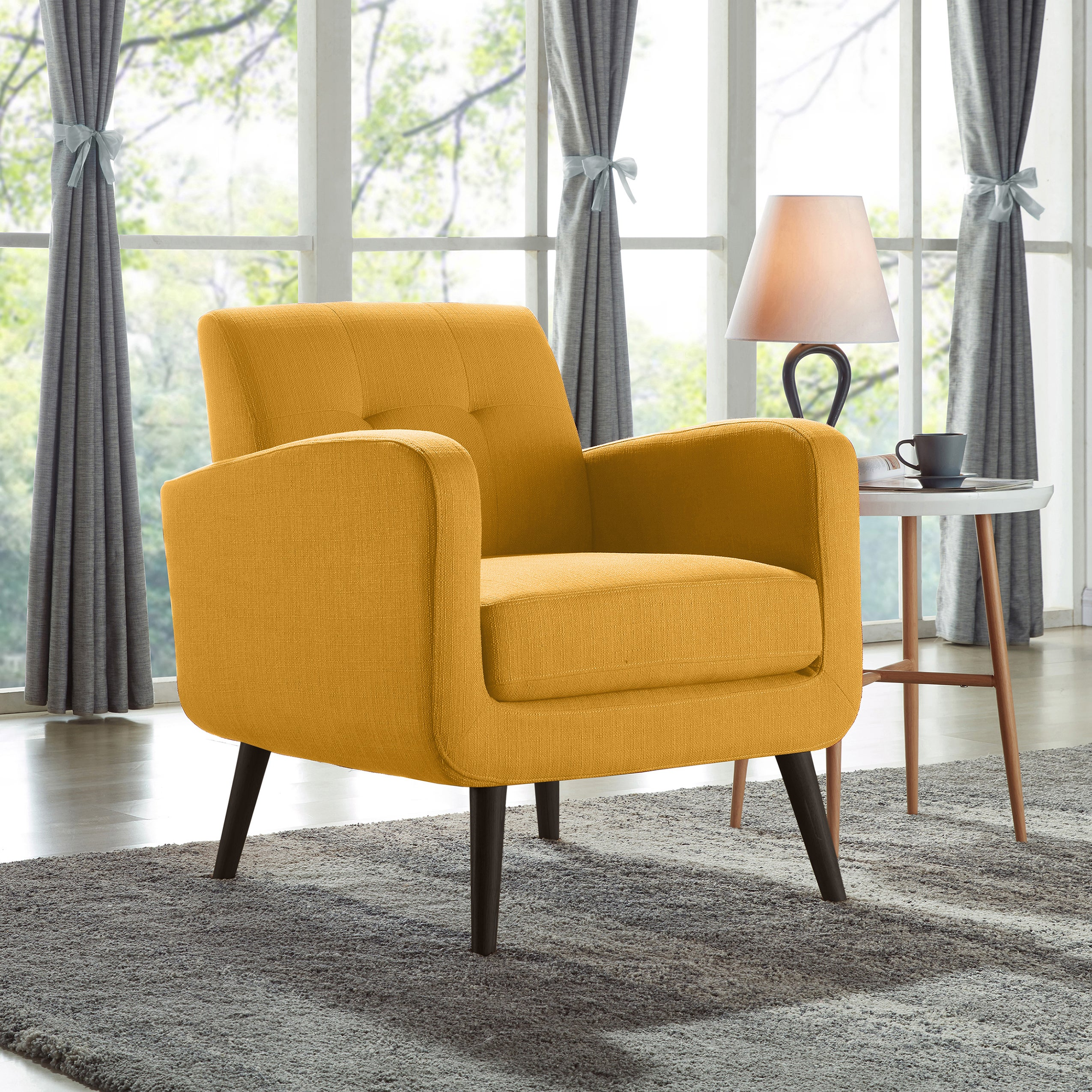 yellow and grey accent chair
