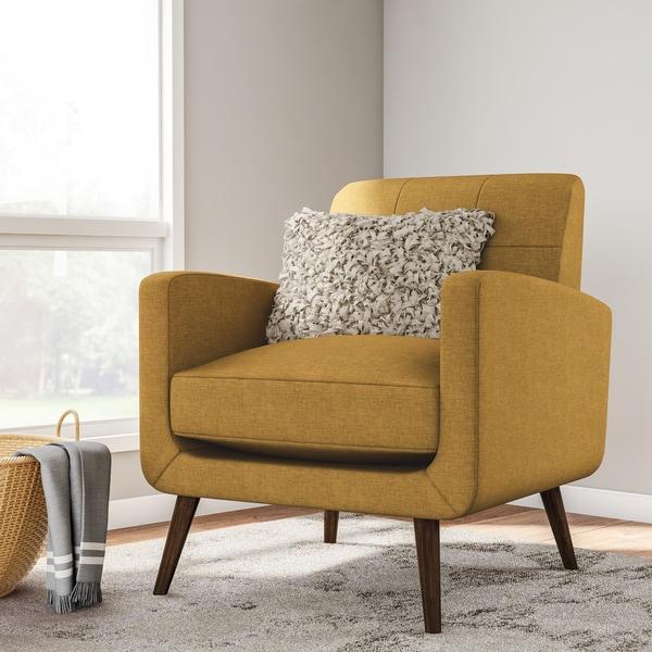 shop carson carrington keflavik mid century mustard yellow linen arm chair on sale free. Black Bedroom Furniture Sets. Home Design Ideas