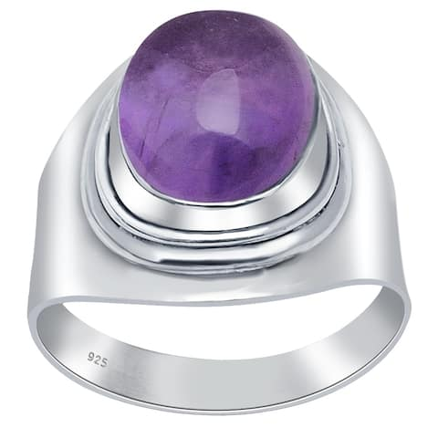 Multi Color Gemstones Sterling Silver Oval Wedding Ring by Orchid Jewelry