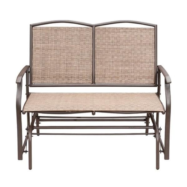 Outdoor Wicker Glider Sofa: Shop SunLife Outdoor Indoor Glider Loveseat Set Rattan