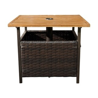 SunLife Outdoor Patio PE Rattan Wicker Bistro Table Base Stand with Umbrella Hole in Garden