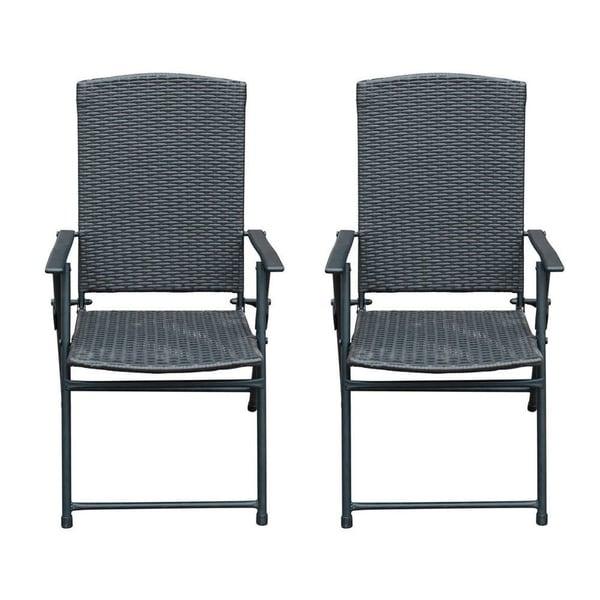 Sunlife Folding Resin Wicker Rattan Chairs Patio Indoor Modern Garden Furniture Set 2 Pairs