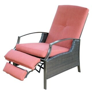 SunLife Recliner Chair, Adjustable Patio Bistro Garden Party Bars Cafe Indoor Outdoor Wicker Relaxing Lounge with Thick Cushion