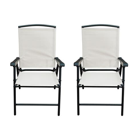 Havenside Home Chetumal Beige Lightweight Folding Patio Chairs (Set of 2)
