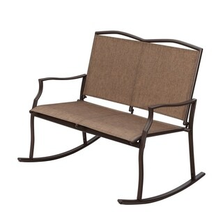 SunLife Sling Glider Rocker Chairs for 2 Person, Loveseats Patio Outdoor Garden Party Bars Cafe, Taupe