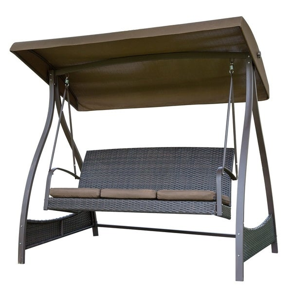 Shop SunLife Porch Lawn Glider Swing 3-Seat Hammock Chair with Arc ...