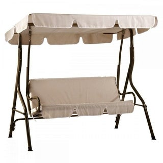 SunLife Patio Swing Canopy Bench with Steel Frame Outdoor Garden Yard 3-Person Cushion Chair Set