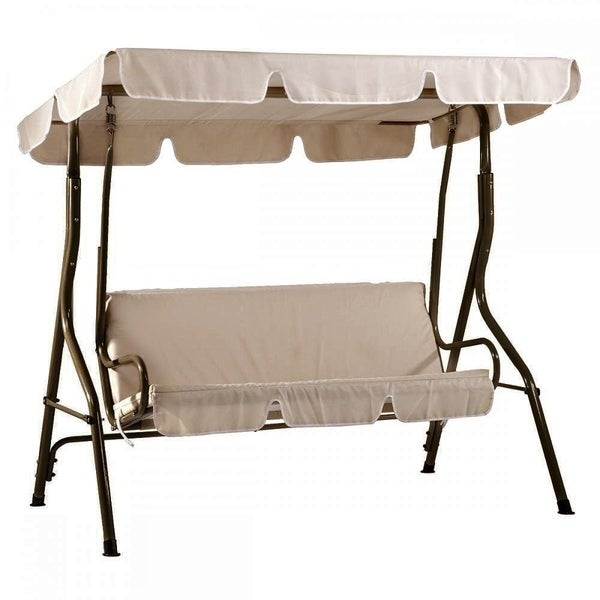 Shop SunLife Patio Swing Canopy Bench with Steel Frame Outdoor ...